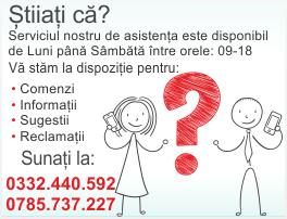 Serviciul pentru clienti este disponibil L-V 09~18. Sunati-ne la: (+4) 0785-737-227.